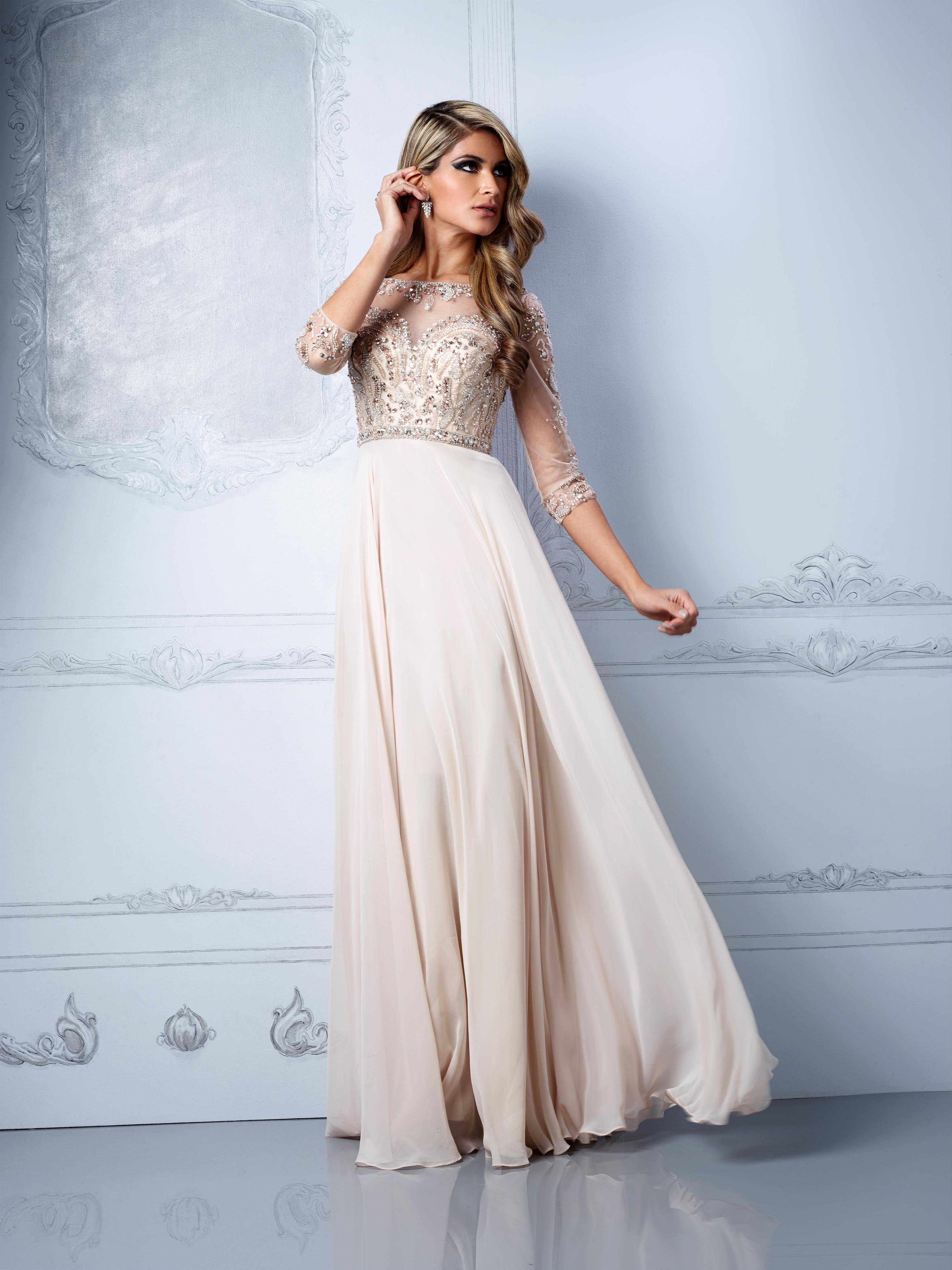 Natural coloured evening dresses