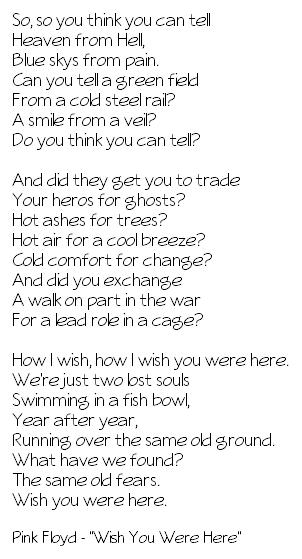 Lirik Wish You Were Here Pink Floyd : lirik, floyd, Floyd,
