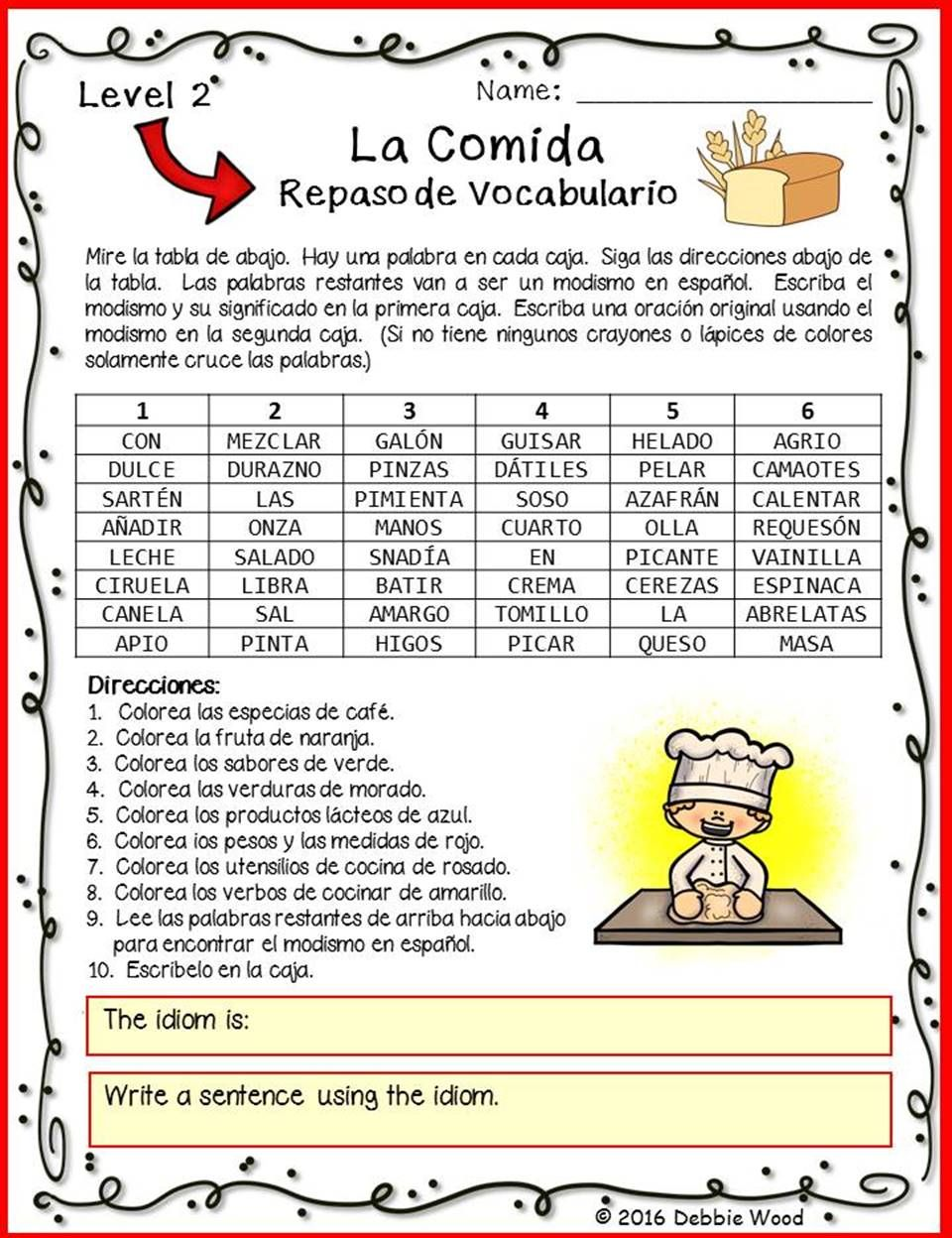 spanish food vocabulary review with idiom levels 1 and 2 food vocabulary spanish and worksheets. Black Bedroom Furniture Sets. Home Design Ideas