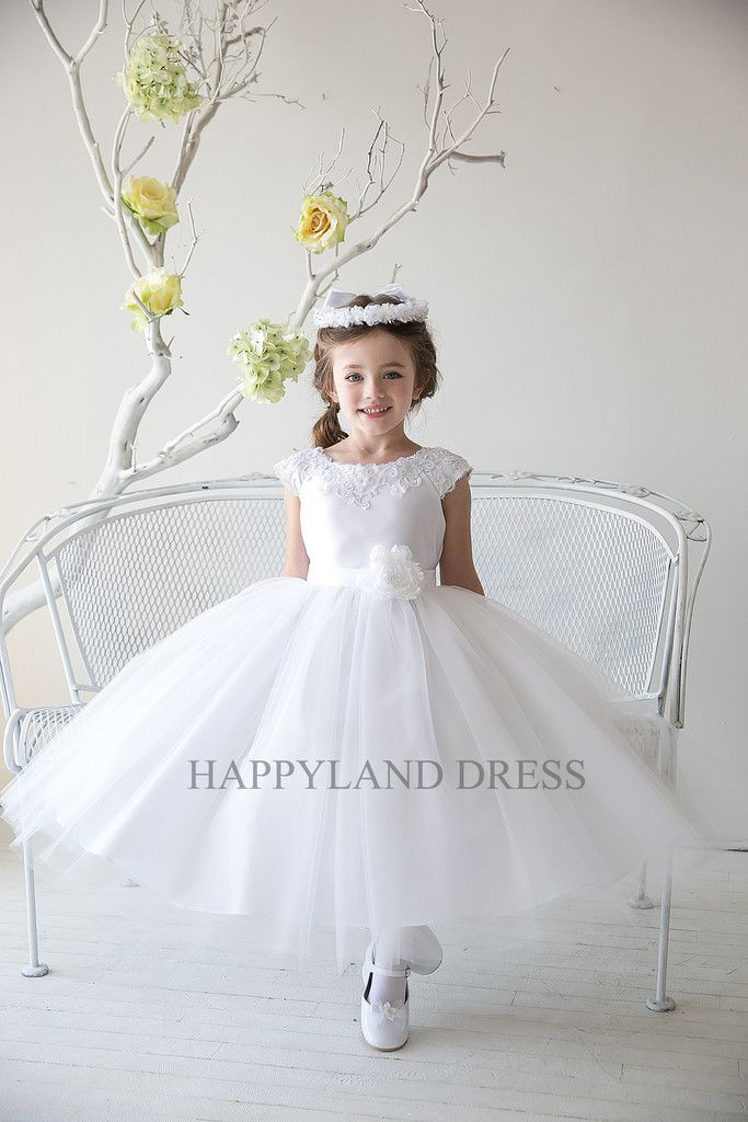 D1234 Applique Lace Satin with Tulle Dress (Ivory or White) – Happy Land