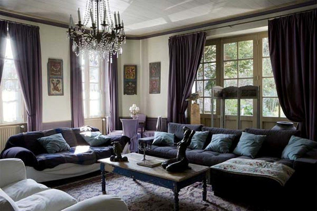 living room color schemes with black furniture%0A dark purple curtain to create purple living room decor