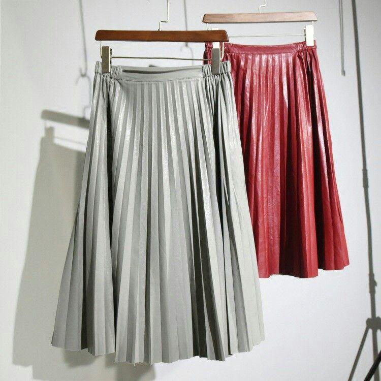 Plissé rok rood & grijs