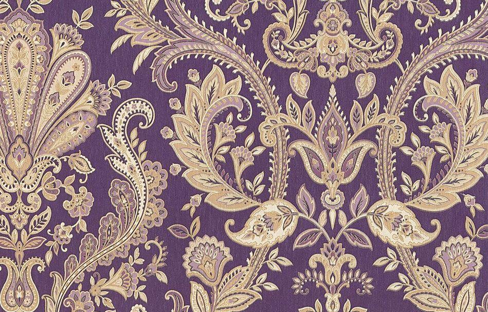 Ornate Baroque Damask Wallpaper Purple Victorian Gothic