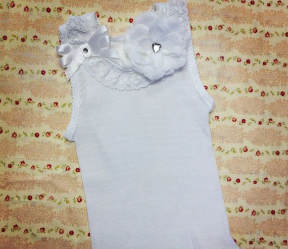 Newborn baby girl lace white singlet tank by preciouslilthings items similar to newborn baby girl lace white singlet tank brooch flower size newborn to 3 years on etsy negle Image collections
