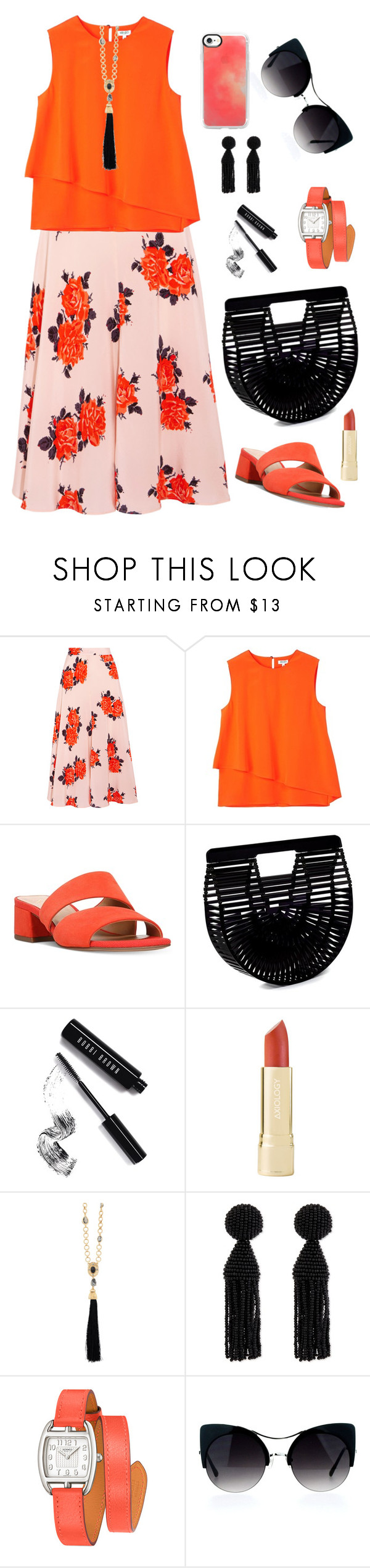 """Untitled #1974"" by ebramos ❤ liked on Polyvore featuring Ganni, Kenzo, Franco Sarto, Cult Gaia, Bobbi Brown Cosmetics, Oscar de la Renta, Hermès and Casetify"