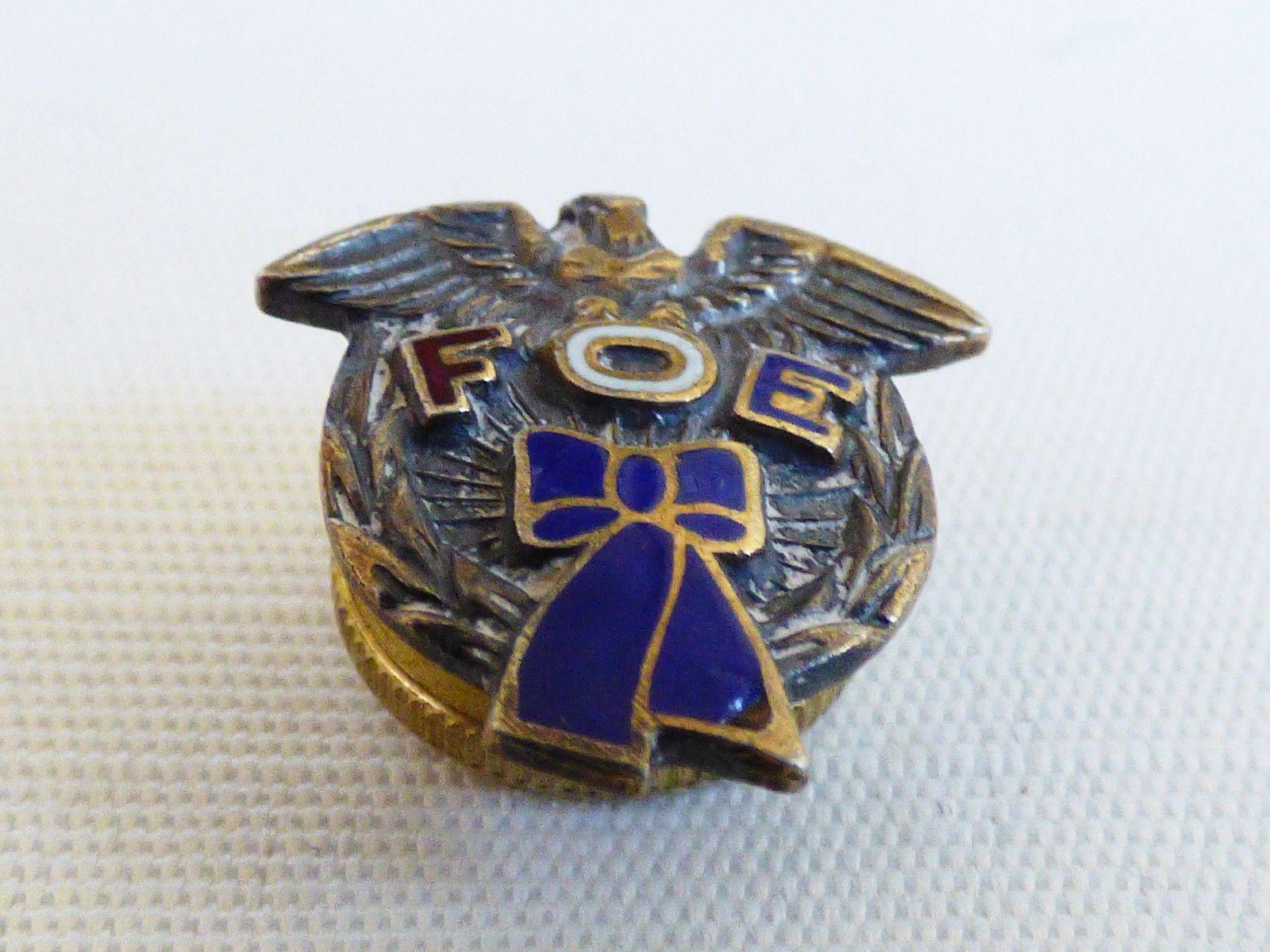 Vtg Fraternal Order of Eagles FOE Sterling Silver Enamel Tie Tack Pin | eBay