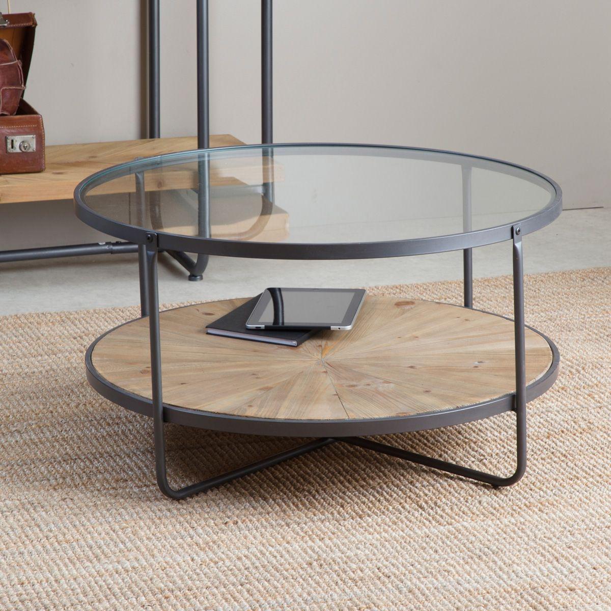 Table Basse Industrielle Ronde 2 Plateaux Verre Et Bois Table Basse Industrielle Table Basse Table Ronde En Verre