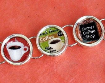 Java Lovers Bracelet Old Fashioned Coffee Shop Theme Silvertone