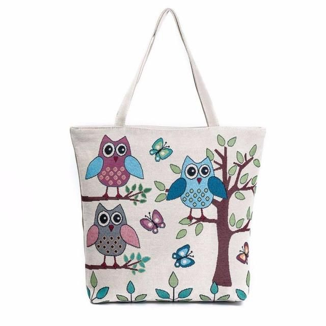 7d90e50e7439 Xiniu women s Shopping Bag Owl Printed Canvas Tote Woman shoulder bag Casual  Beach printed Bags  XTJ