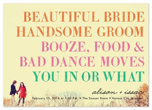 Wedding Dance Only Invitation Wording: Wedding Invitation... Beautiful Bride Handsome Groom Booze