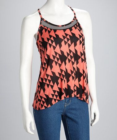 Take a look at this Coral & Black Racerback Tank by Madison on #zulily today!