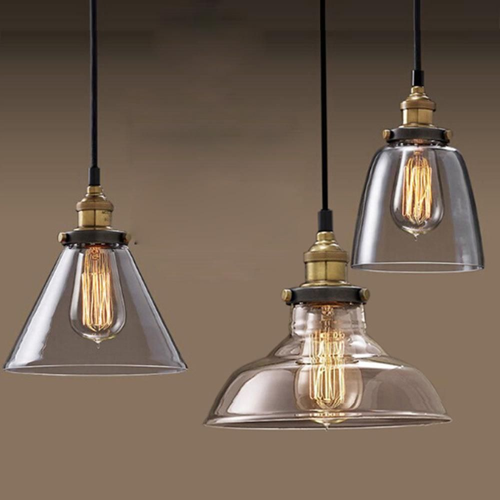 Wholesale glass vitange industrial pendant lights E27