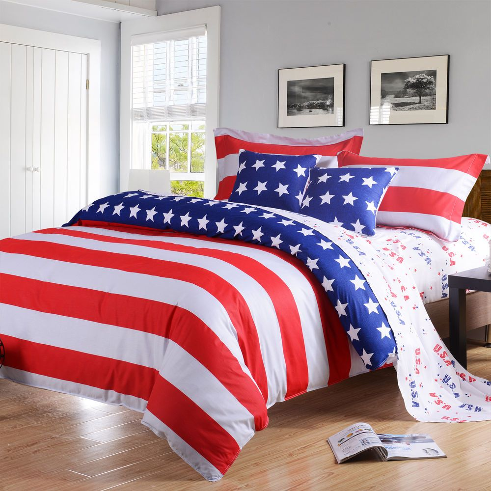 American Flag USA Bedding Full/Queen 4 Pc