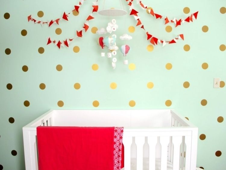 außergewöhnlich - wandfarbe mintgrün mit goldenen punkten, Schlafzimmer design