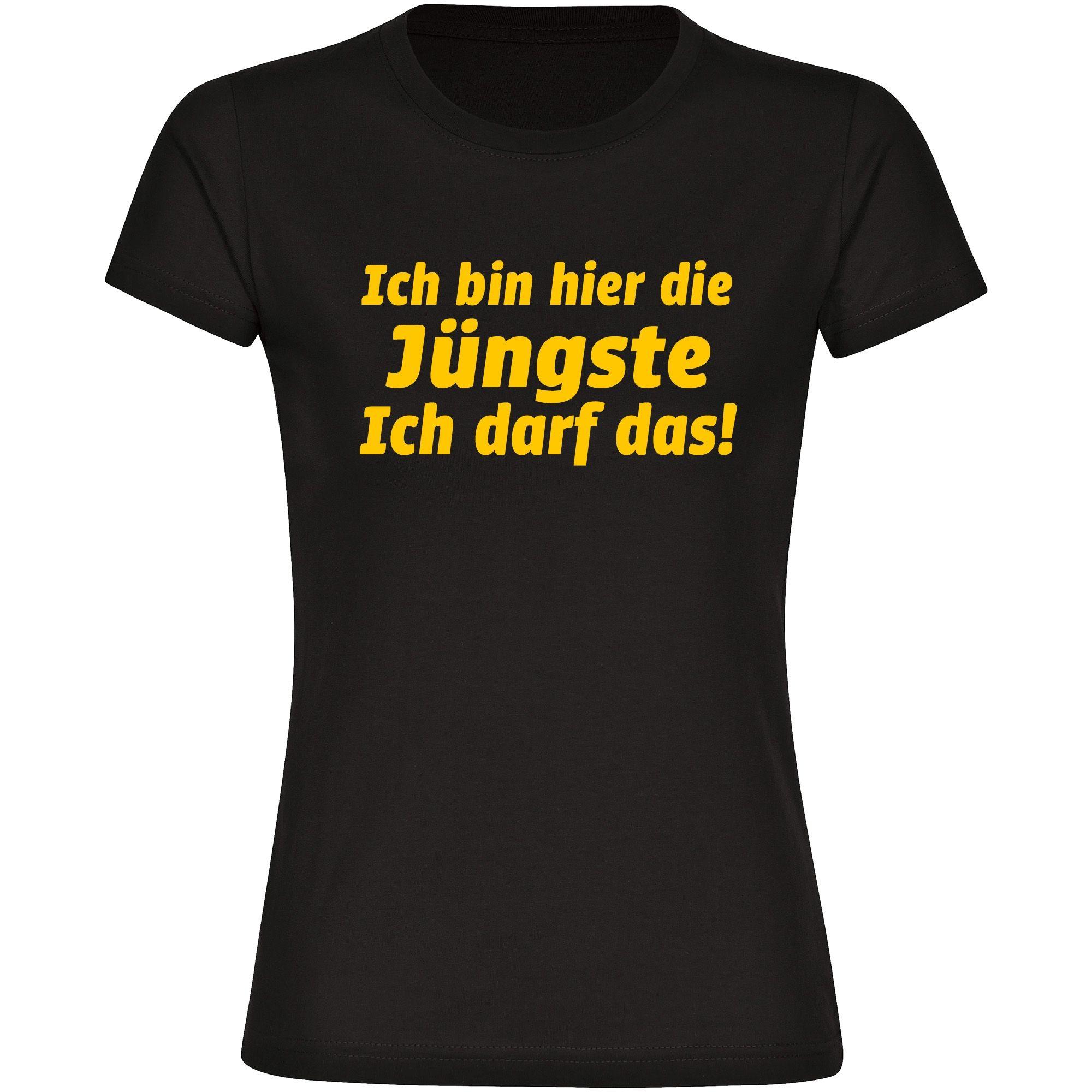 T-Shirt Ich bin hier die Jüngste schwarz Damen Größe S bis XXL ++