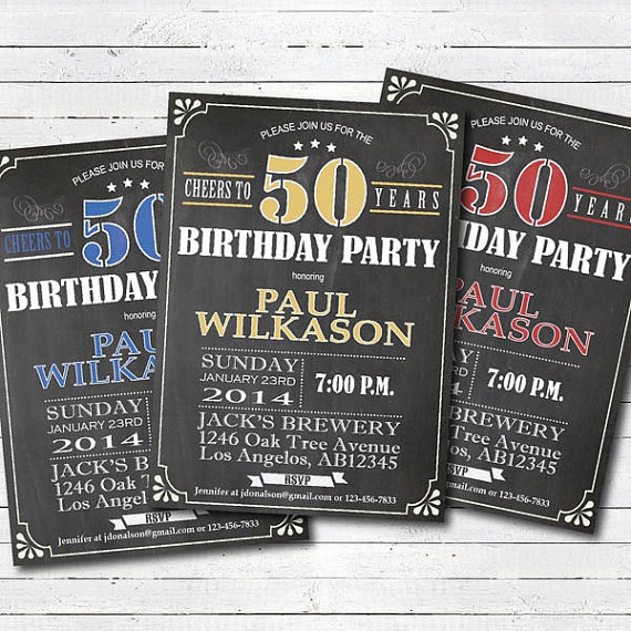 50th Birthday Invitation Man Cheers To 50 Invite Retro Chalkboard Yellow Printable Adult