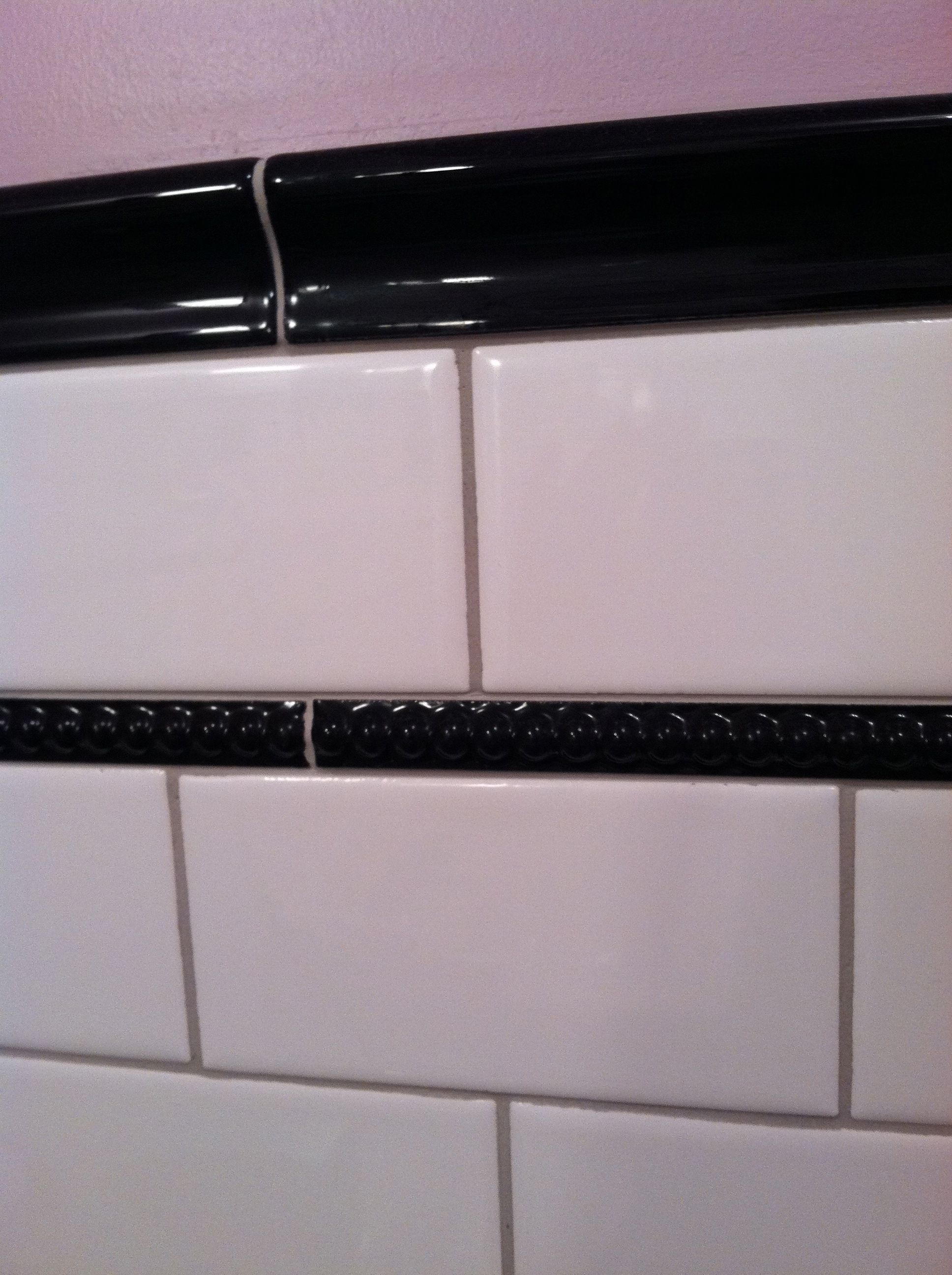 Black Chair Rail Tile Ceramic Bathroom Google Search