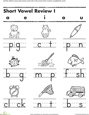 Fill in the Short Vowel | Kindergarten worksheets, Phonics ...
