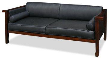 Marvelous Mulan Elmwood Black Leather Sofa Asian Sofas Cool Machost Co Dining Chair Design Ideas Machostcouk