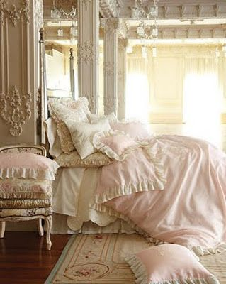 French boudoir inspiration: bed dressing + palette ~ Rococo