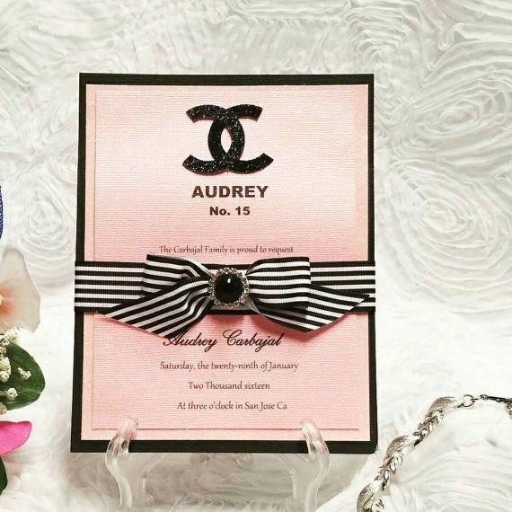 Chanel Invitation por Lupitacortes en Etsy XV INVITATIONS