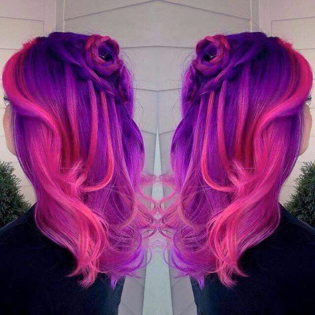 Hot Pink And Purple Pink Ombre Hair Underlights Hair Pink Purple Hair
