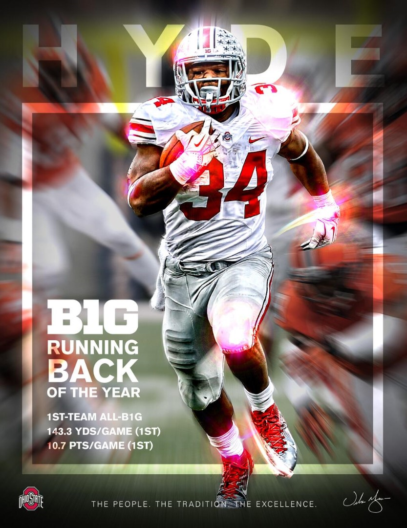 B1G RUNNING BACK OF THE YEAR 2013 CARLOS HYDE 34BY