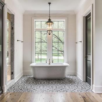 Black And White Mediterranean Bathroom Design Mediterranean Cool Black And White Mosaic Tile Bathroom Decorating Design