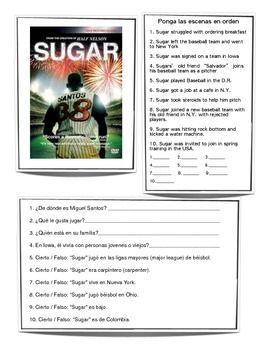 sugar spanish movie worksheets listening spanish teaching spanish spanish class. Black Bedroom Furniture Sets. Home Design Ideas