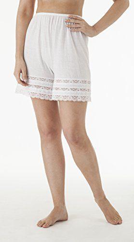 Womens Cotton Ivory Lace vintage Pettipants Under Pants Underwear culottes Slip