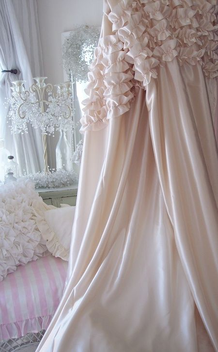 Darling White Chenille Pops Elegant Sheer Shower Curtain Drapes
