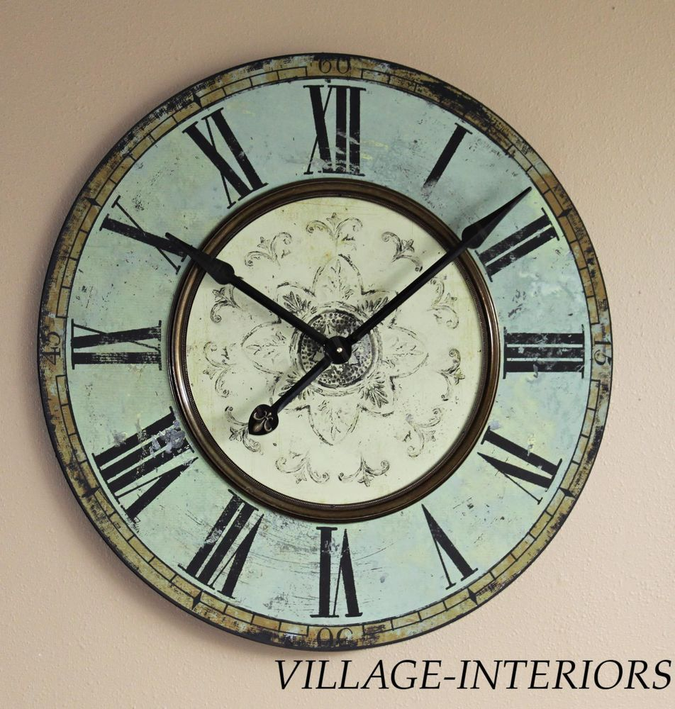 29 French Bistro Blue Green Large Gallery Wall Clock W Br Detail Retail 159
