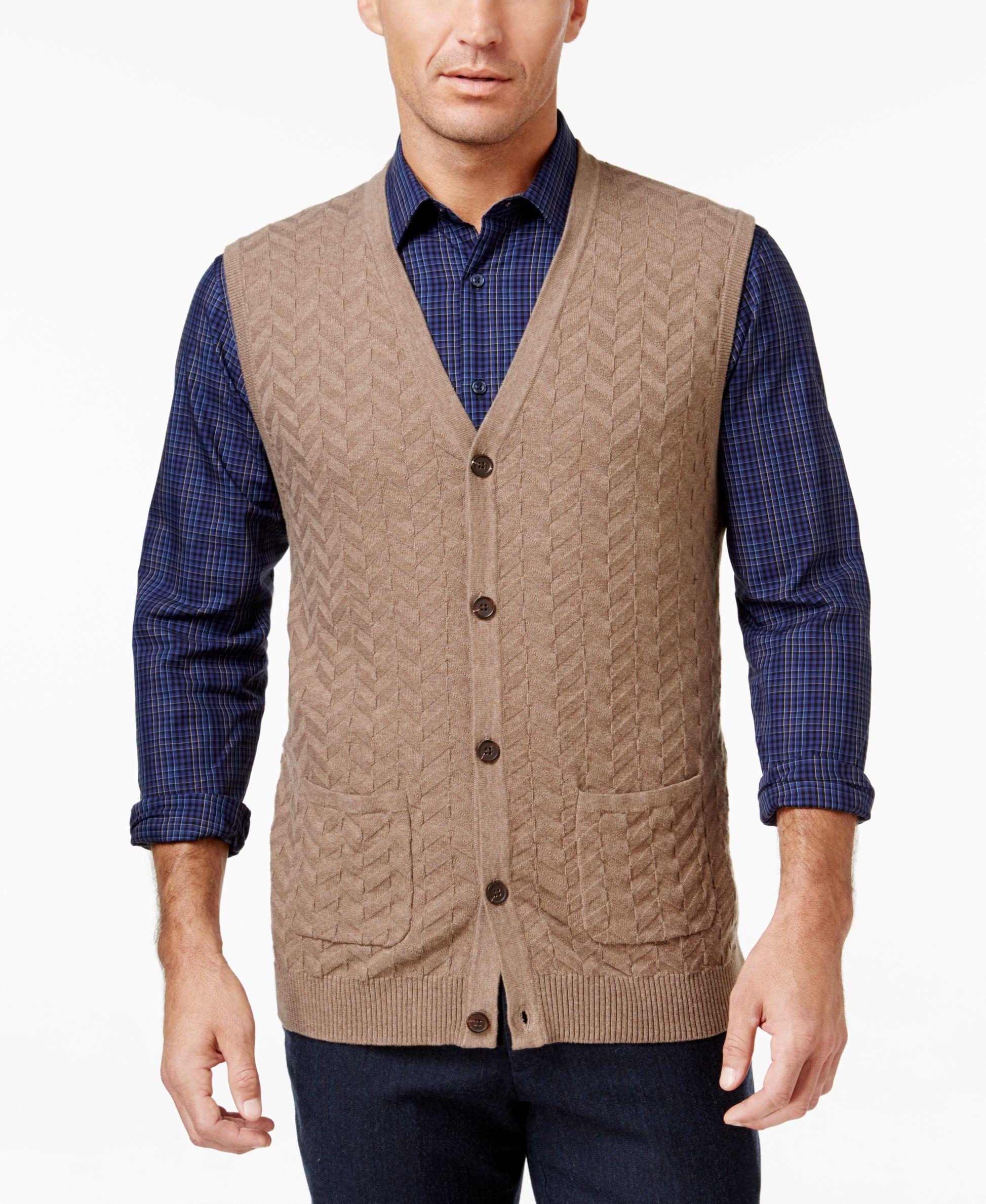 Tasso Elba Men's Chevron Sweater Vest, Only at Macy's | Cardigans ...
