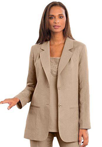 5de8b5685943d Jessica London Womens Plus Size SingleBreasted Linen Blazer New Khaki12    Amazon most trusted e-retailer  LinenDresses