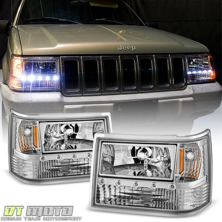 1993 1998 Jeep Grand Cherokee 6in1 Drl Led Headlights Corner Bumper Lights 93 98 Dtmoto Jeep Grand Cherokee Jeep Grand Jeep Zj