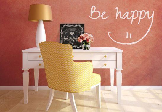 Wandtattoo Be Happy Von Wwwwall Artde Typografie Zitate