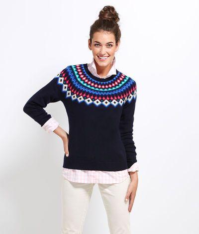 Women's Sweaters: Seaside Fair Isle Ragland Sweater for Women ...