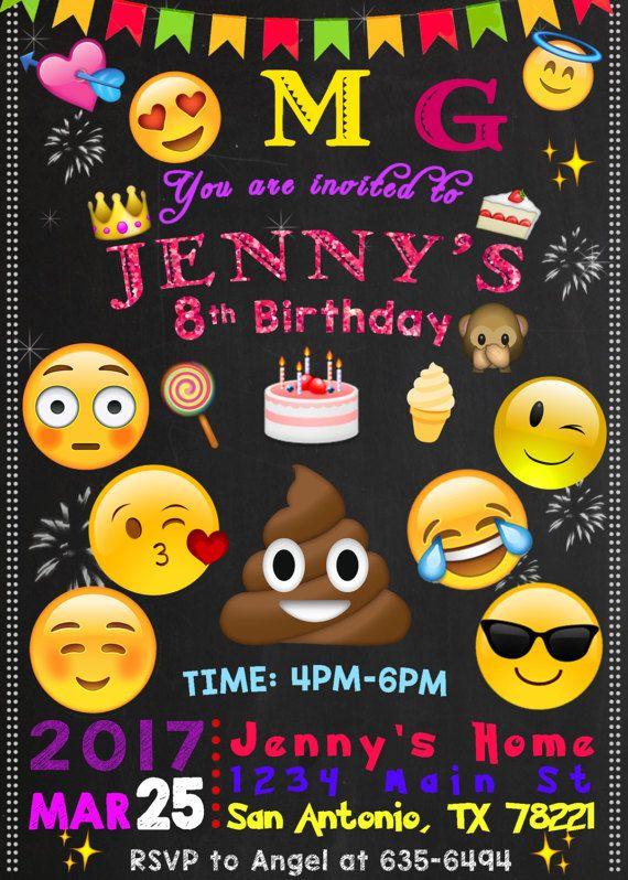 Invitación De Cumpleaños De Emoji Invitación Invitación De