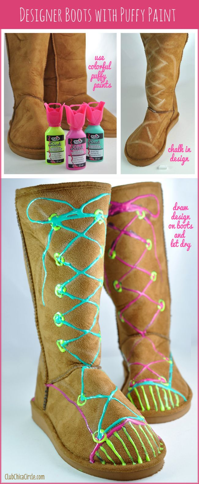 Puffy paint designs - What A Great Idea Decorate Ugg Style Boots With Puffy Paint