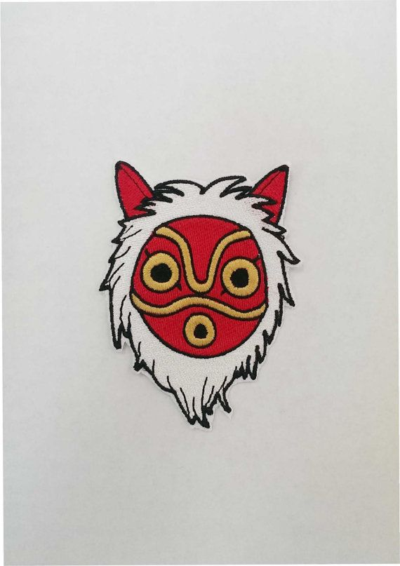 Princess Mononoke Mask Fully Embroidered Patch Princess Mononoke Princess Mononoke Tattoo Ghibli Tattoo