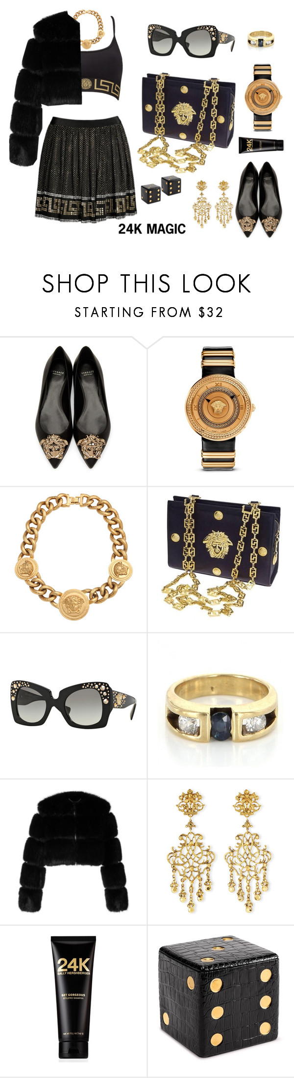 """Bruno Mars-24K Magic"" by texasradiance on Polyvore featuring Versace, Givenchy, Jose & Maria Barrera, Sally Hershberger, L'Objet and hashtag"