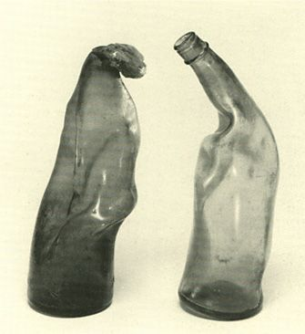 Bottles crooked in the heat rays of the atomic bomb. Hiroshima Japan.