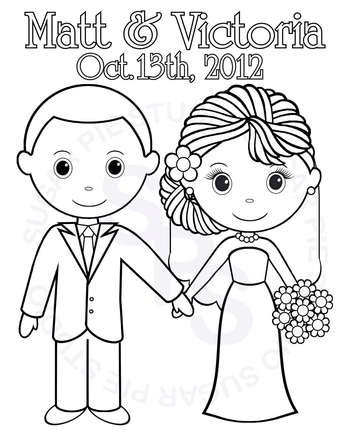 bride and groom coloring pages # 2