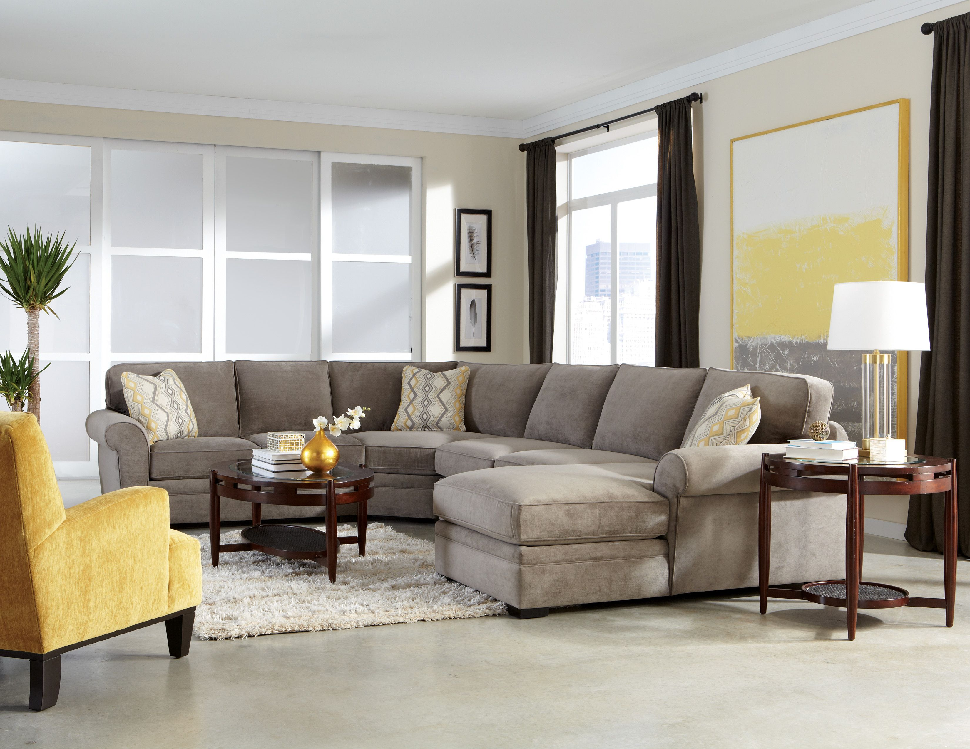 "Orion"" Collection Gray Upholstered 4 piece Sectional"