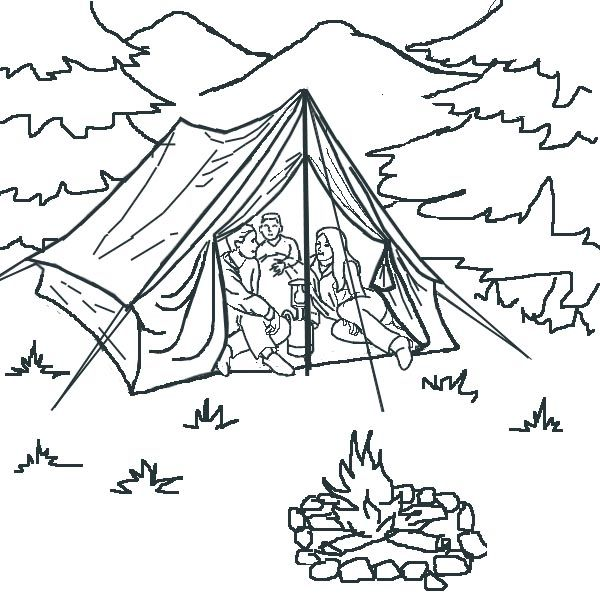 Camping Tent Coloring Pages Cute Coloring Pages