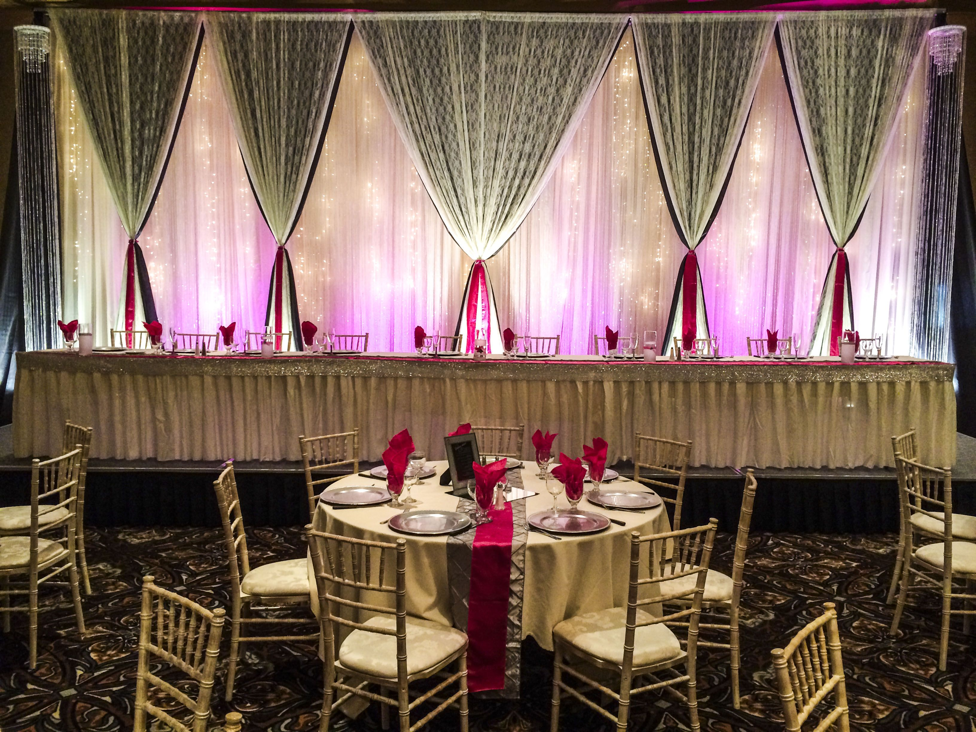 Hot Pink And Silver Wedding #lethbridgeeventrentals