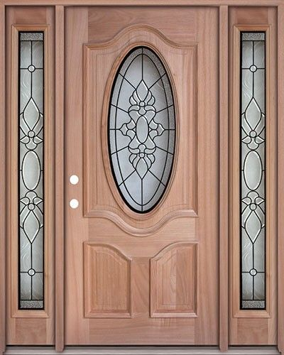Classic 34 Oval Mahogany Front Door With Sidelights Puertas