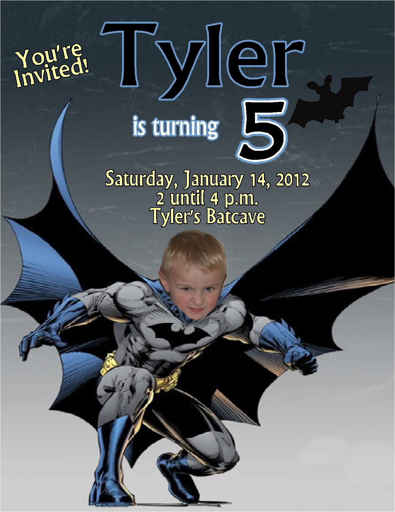 Batman Personalized Photo Birthday Invitations 2012 Mas