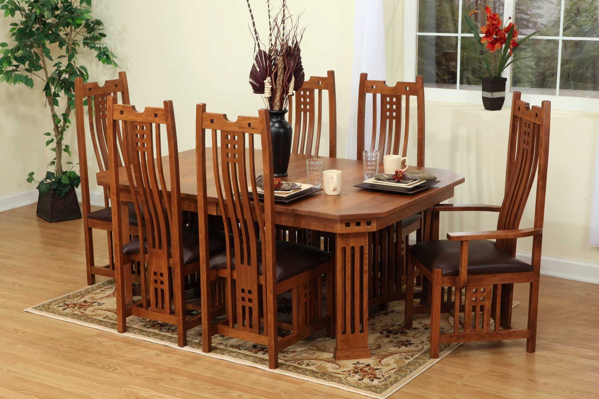 Roseville Style Solid Wood Table And Chairs Amish