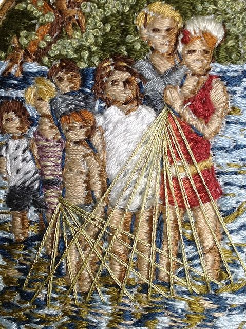 """detail of """"The children will forget by tomorrow"""" - embroidery on linen, Michelle Kingdom"""